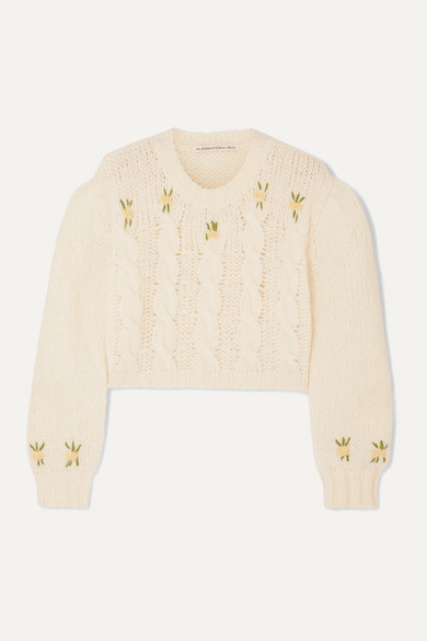 alessandra rich cropped embroidered cable knit sweater
