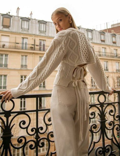 Magda Butrym's open back cable-knit sweater