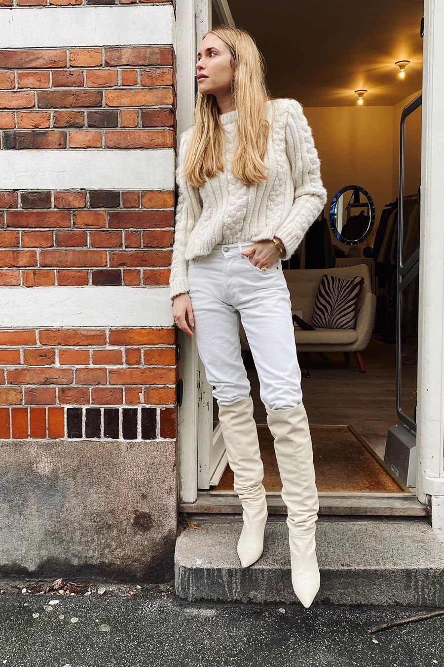 all white winter look with cable knit swaeter