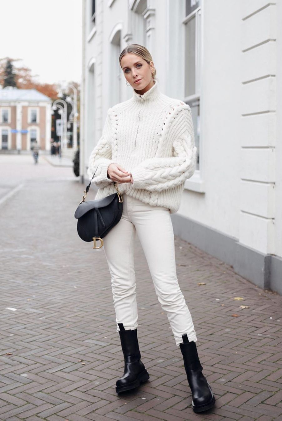 all white winter look with cable knit sweater