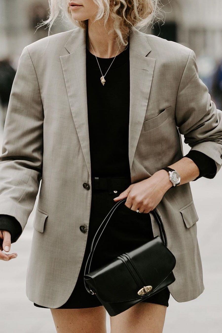 beige oversized blazer with black skirt
