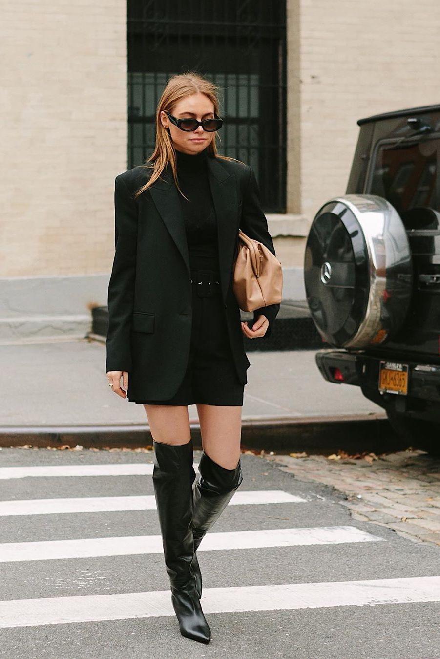 black blazer and black dress