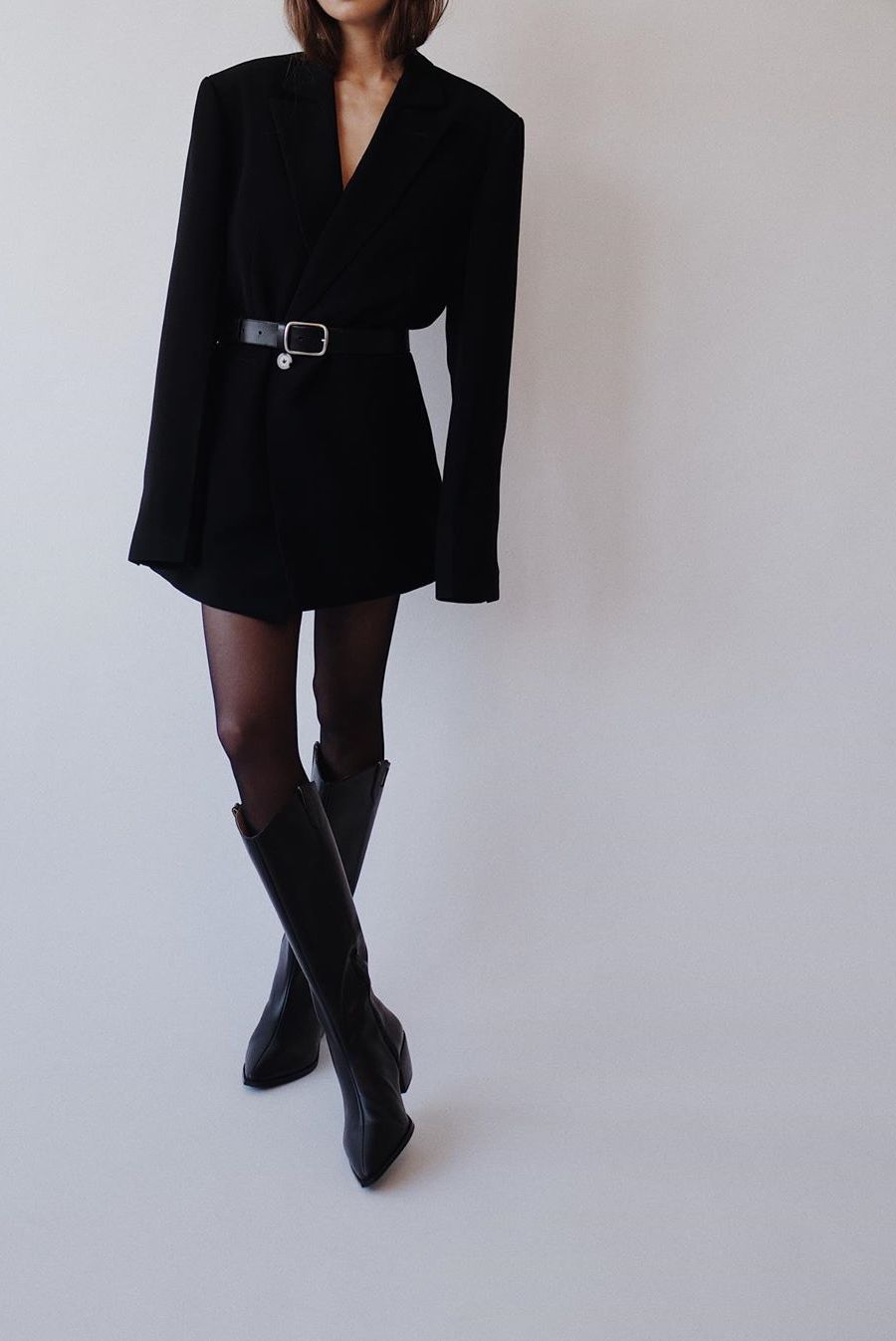 Belted Blazer Outfit All black