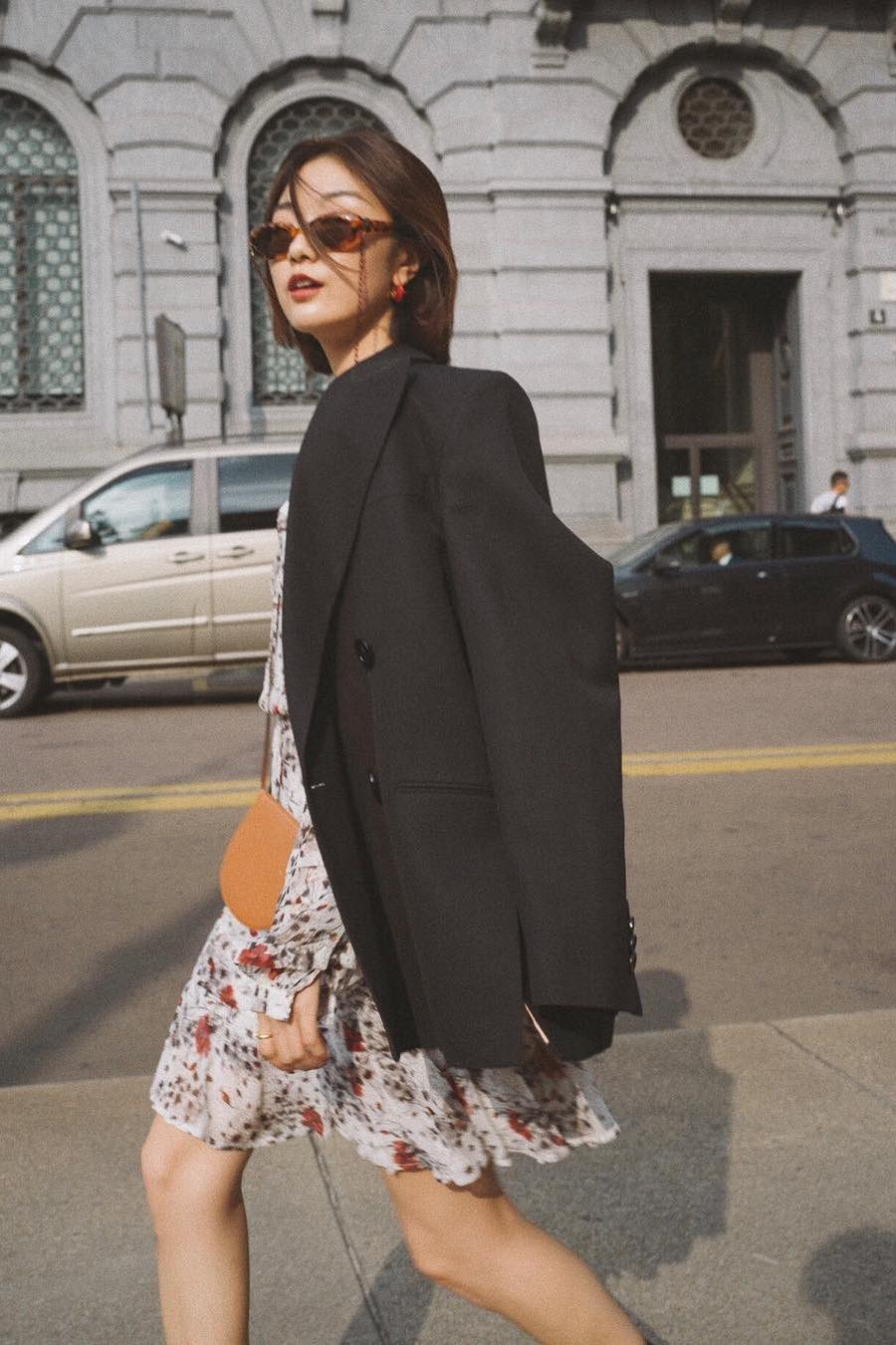 Black oversized blazer and floral dress