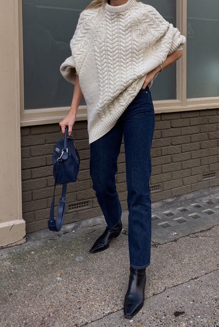 oversized cable knit sweater with jeans
