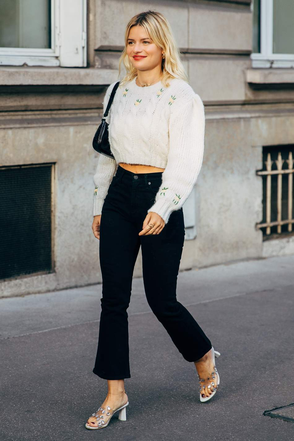 alessandra rich cable knit sweater