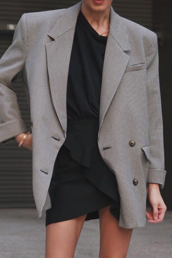 plaid oversized blazer