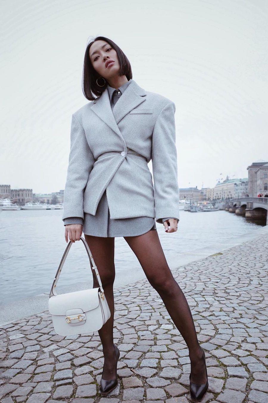 Grey oversized blazer outfit