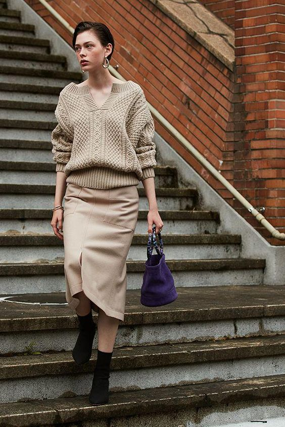 how to wear cable knit sweater to work
