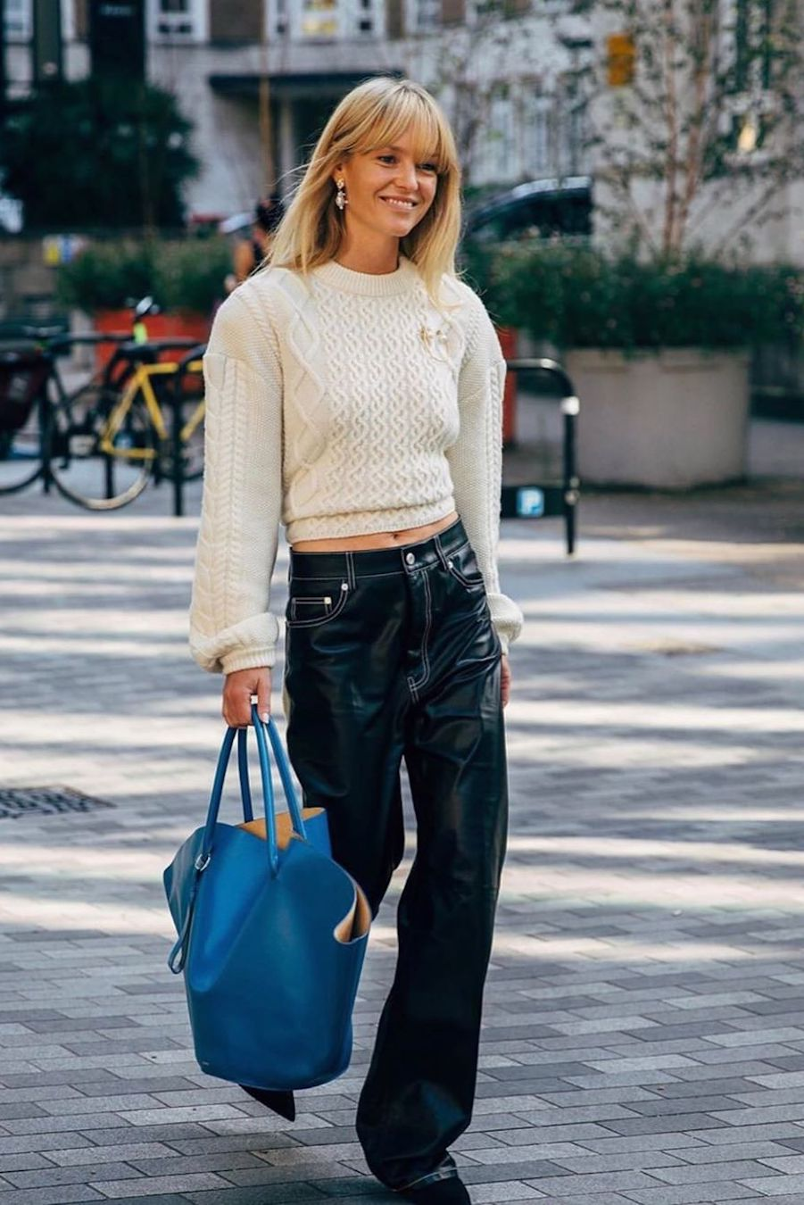 how to wear cable knit sweater with leather pants