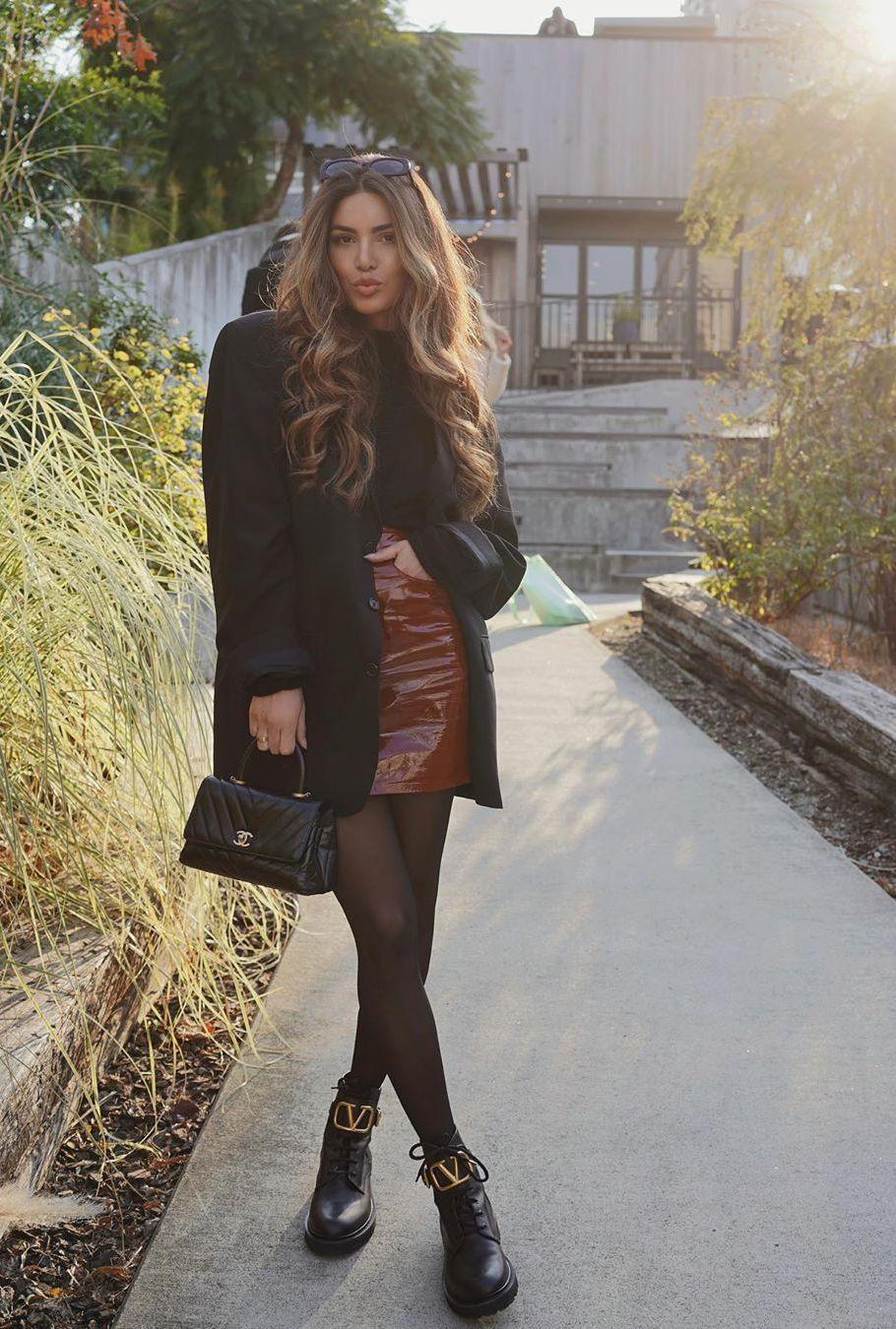 Black oversized blazer with brown mini skirt