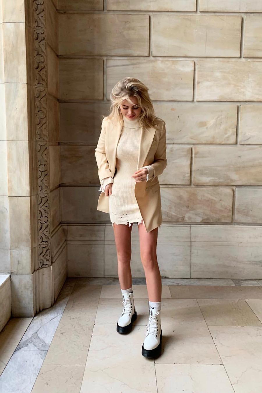 beige oversized blazer combination