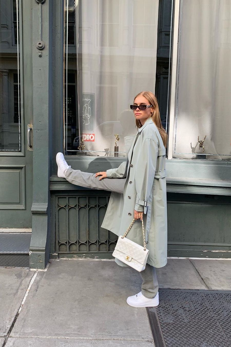 track suit chanel bag and trench coat