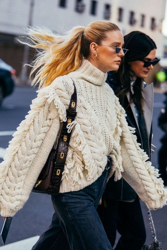 cable-knit sweater outfit