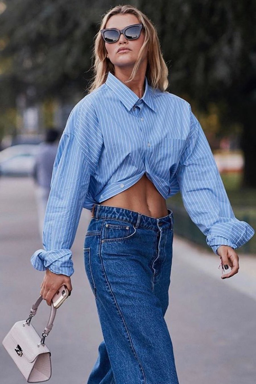 oversized blue pinstripe shirt outfit