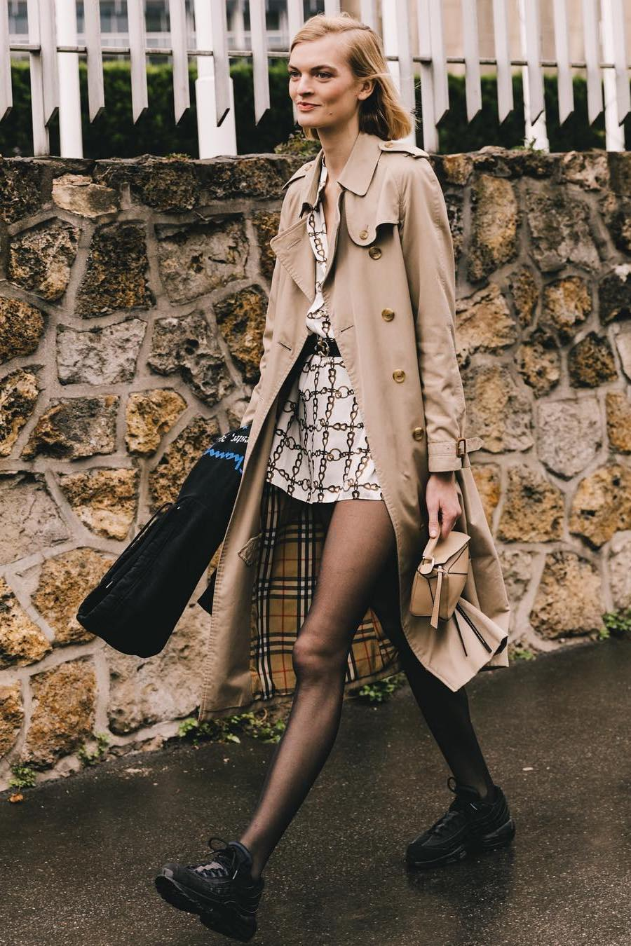trench coat over short dress street style look
