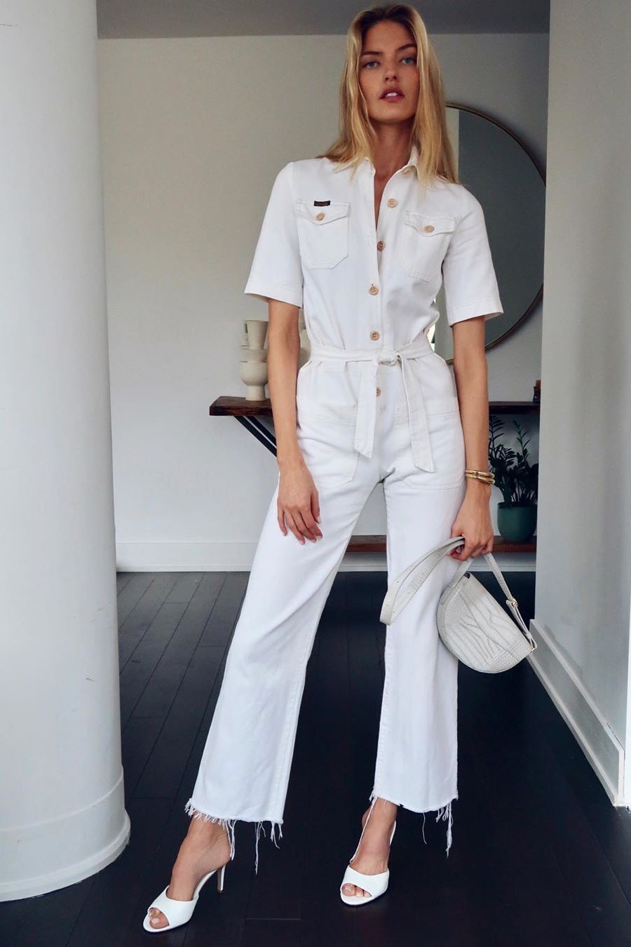 white jumpsuit, stylish everyday outfit for spring
