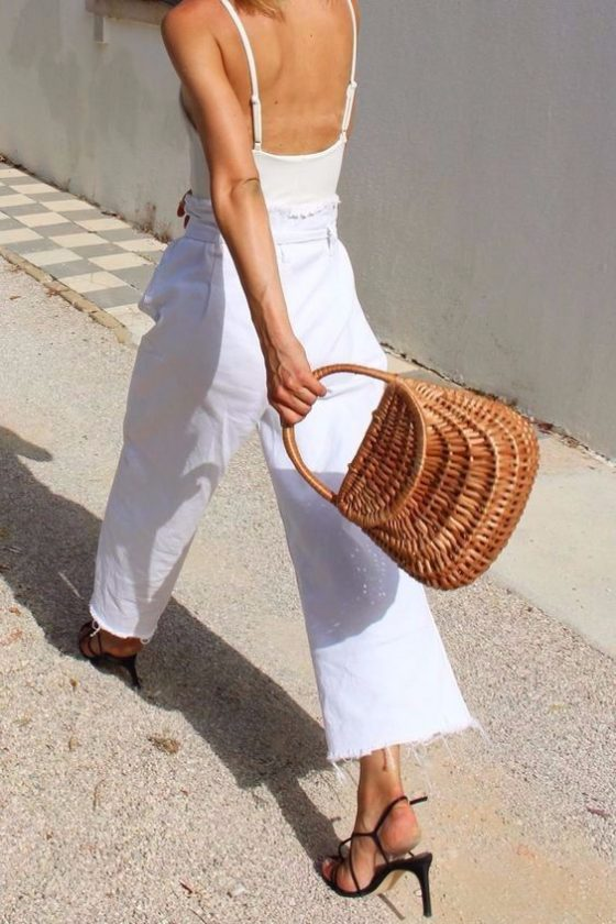 all white minimal outfit for summer