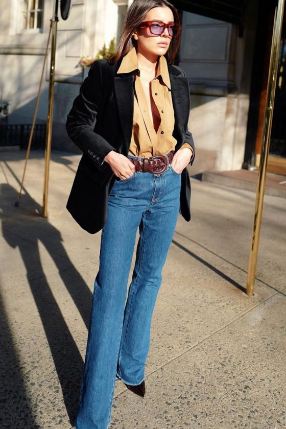 velvet blazer with jeans