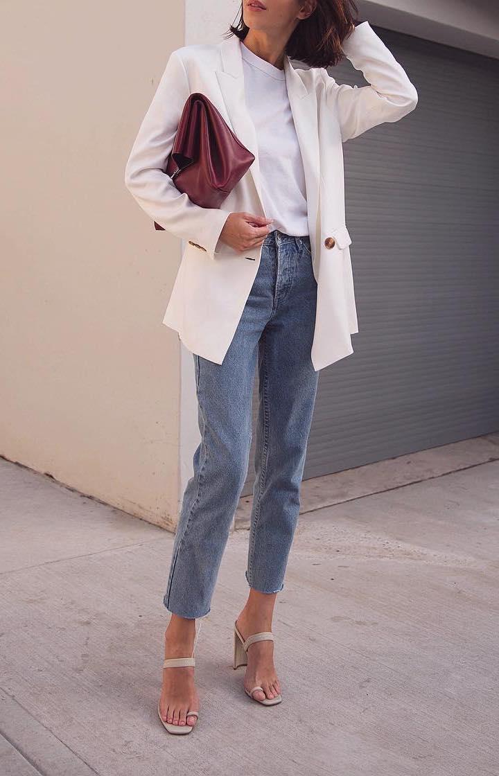 white blazer with jeans