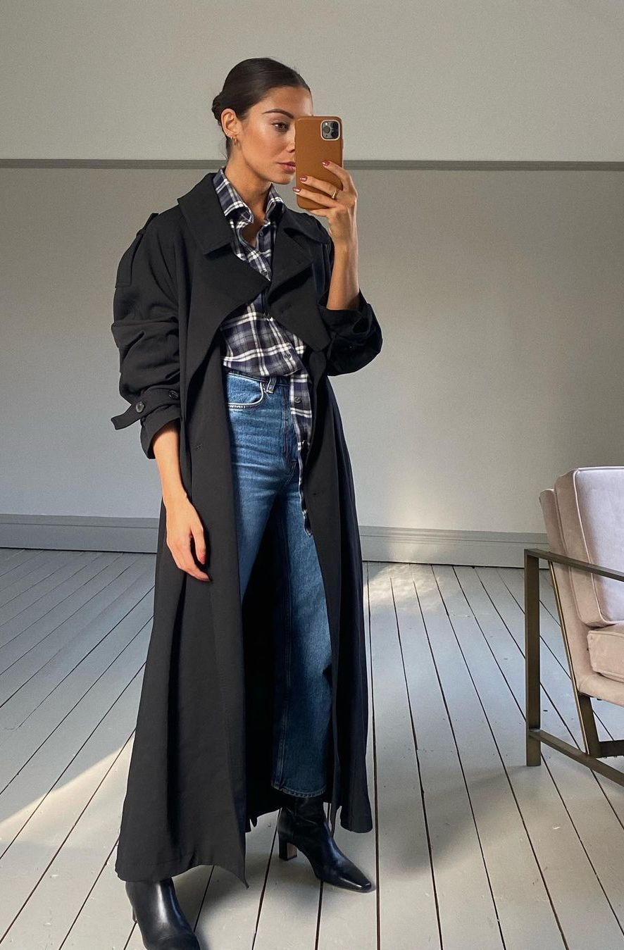 how to wear long black coat, timeless outfit for fall